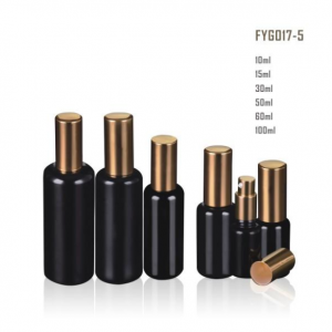 Dark Violet Glass Bottle With Golden Pump/Sprayer And golden Lid