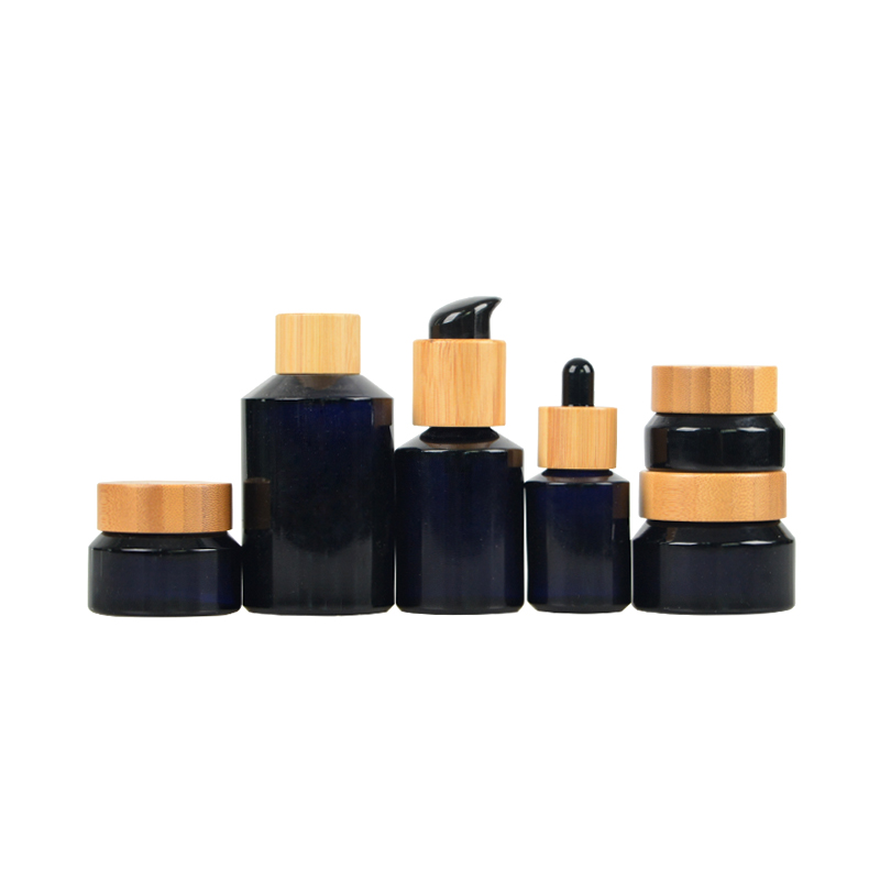 Dark Violet Glass Bottle With Wooden Dropper/Pump/Sprayer/Cap