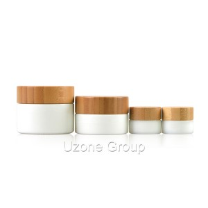 5g 30g 60g Opal white glass jars with bamboo lid