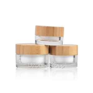 15g 30g 50g Acrylic cream jar with bamboo lid