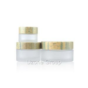 15g 30g 50g 100g frosted glass jar with bamboo lid