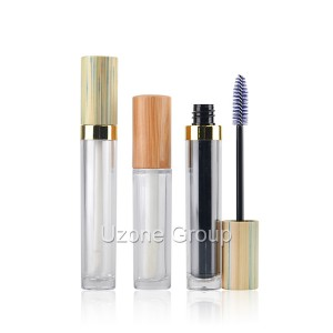 Lip balm and mascara brush plastic tube with bamboo lid
