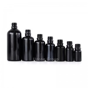 Customized 10ml 30ml China black glass cosmetic essential oil bottle skin care wholesale