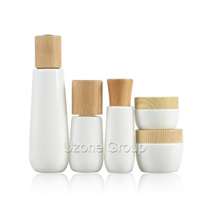 Opal White glasbottel En pot met Bamboo / Rubber Wooden Cap / dropper