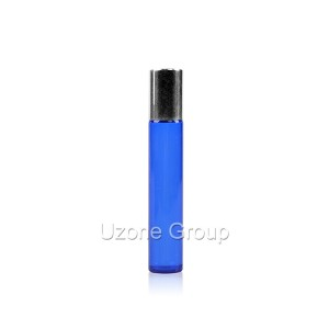 Blue glass roller on bottle