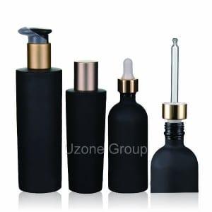 Dark Violet Glass Bottle With Pump/Dropper/Cap
