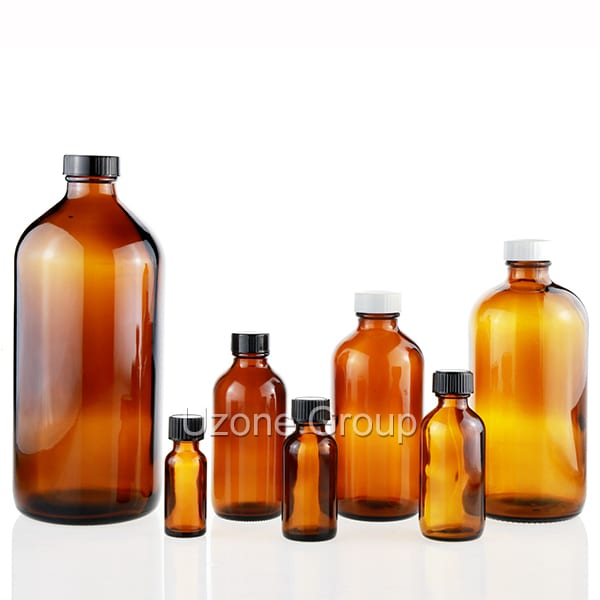 Well-designed Essential Oils Glass Bottle - Amber Boston Round Glass Bottle  – Uzone