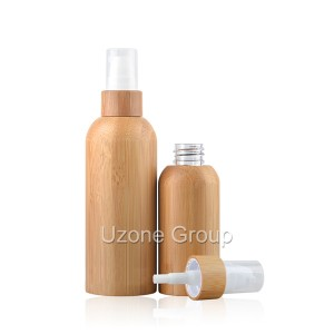 Plastic bottle with bamboo collar sprayer/pump and bamboo cover