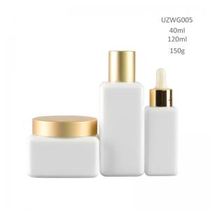 Opal White Glass Bottle And Cream Jar With Golden Dropper/Cap/Sprayer/Pump