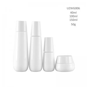 Opal White Glass Bottle And Cream Jar With Trapezium Lidopal